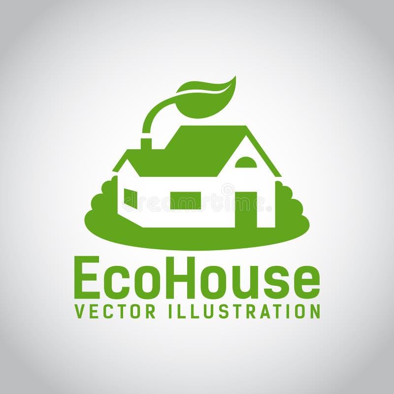 Icône verte de maison d'eco de vecteur illustration libre de droits