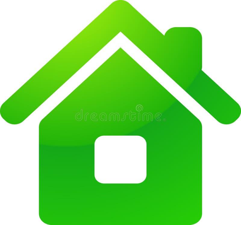Icône verte de vecteur de maison d'eco illustration libre de droits