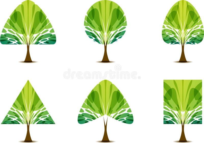 Icône verte réglée d'arbre avec la forme différente de couronne illustration de vecteur