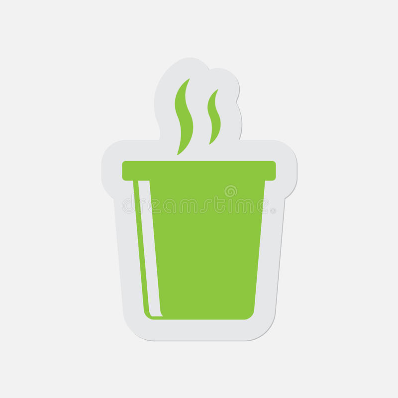 Icône verte simple - boisson chaude de prêt-à-manger avec de la fumée illustration de vecteur
