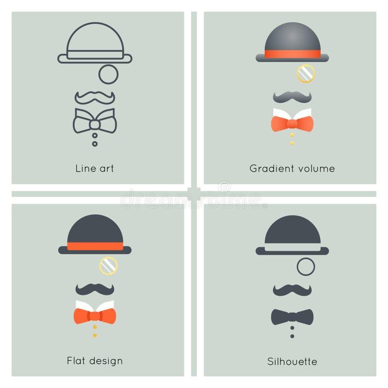 Icône victorienne Grande-Bretagne de Retro Vintage Hipster d'homme d'affaires de monocle d'arc de moustache de chapeau de déguise illustration libre de droits