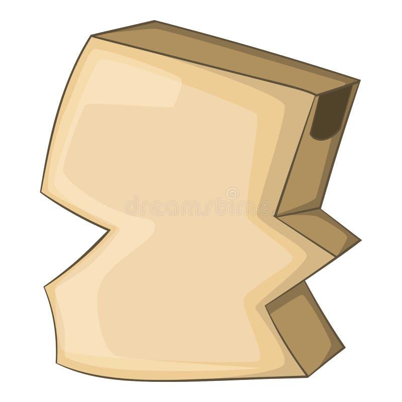 Icône vide chiffonnée de boîte en carton, style de bande dessinée illustration libre de droits