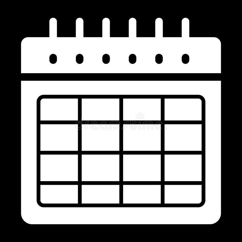 Icône vide de vecteur d'horaire Illustration noire et blanche de calendrier Icône linéaire solide d'organisateur illustration de vecteur