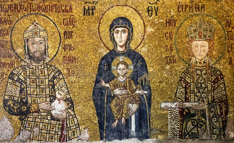 Icône Vierge Marie et des saints dans l'intérieur du Hagia Sophia i photos libres de droits