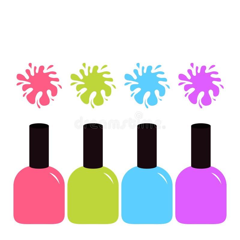 Icône violette et verte bleue rose de vernis de vernis à ongles Ensemble coloré d'éclaboussure de tache illustration de vecteur