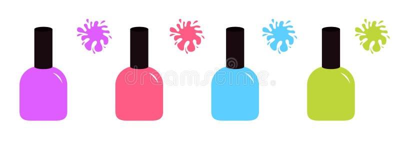 Ic?ne violette et verte bleue rose de vernis de vernis ? ongles Ligne colorée d'ensemble d'éclaboussure de tache inkblot Mode d'i illustration de vecteur