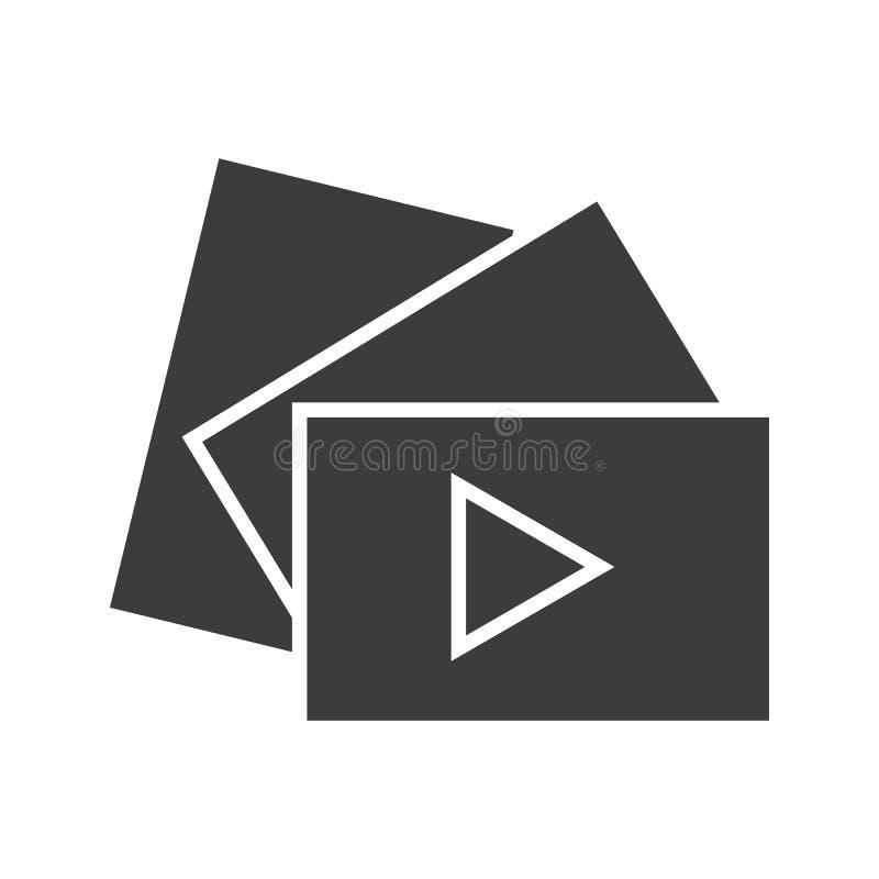 Icône visuelle de bouton de jeu Symbole de silhouette d'ombre de baisse L'espace négatif Illustration d'isolement par vecteur illustration de vecteur