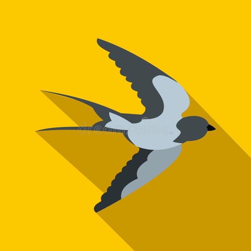 Icône volante d'oiseau d'hirondelle, style plat illustration stock