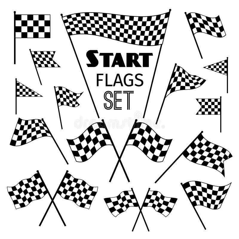 Icônes à carreaux de drapeau illustration stock