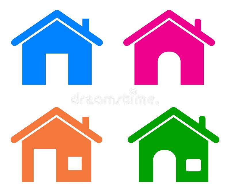 Icônes à la maison illustration stock