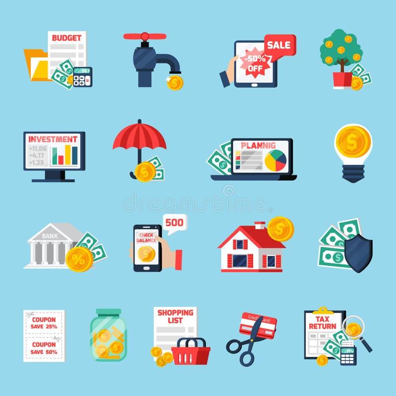 Icônes à la maison de budget réglées illustration stock