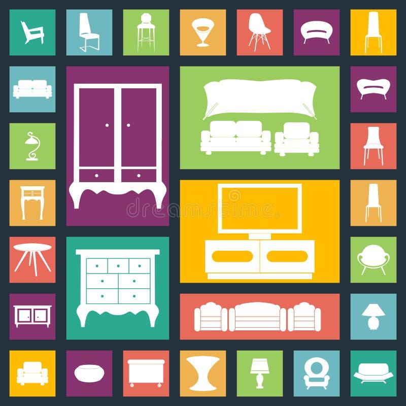 Icônes à la maison de meubles réglées Loge l'équipement image libre de droits