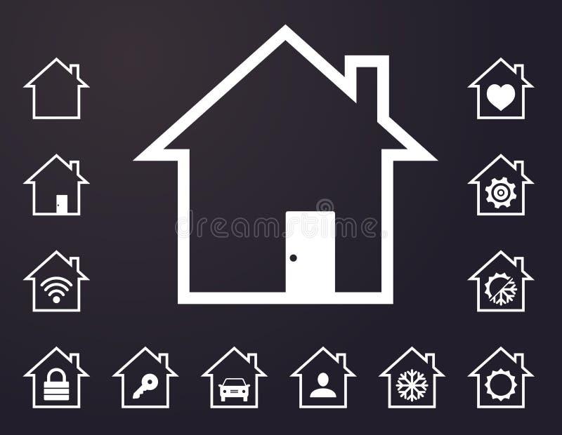 Icônes à la maison futées rayées par blanc illustration de vecteur