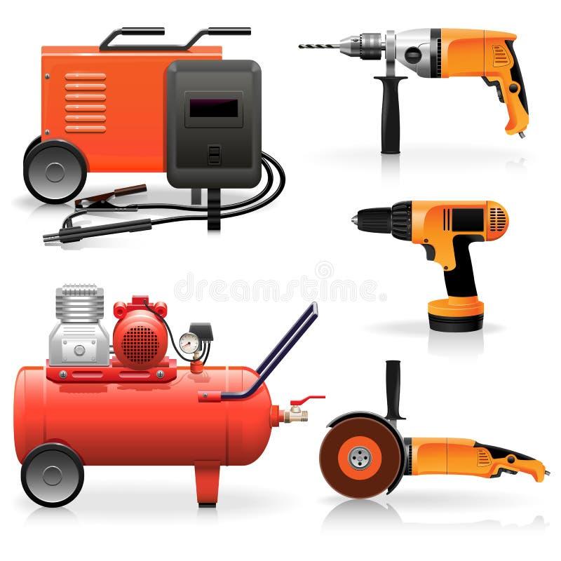 Icônes électriques d'outils de vecteur illustration stock