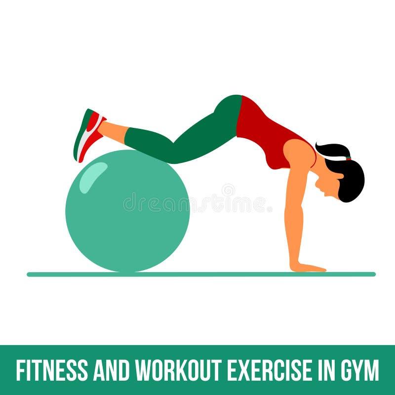 Icônes aérobies Exercice de boule illustration stock