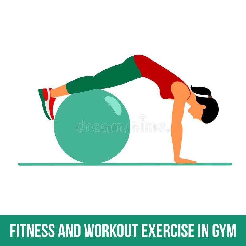 Icônes aérobies Exercice de boule illustration de vecteur