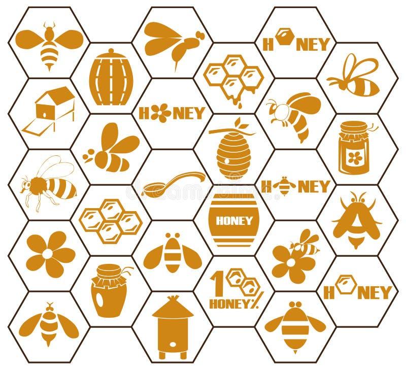 Icônes abeille et miel dans le peigne illustration stock
