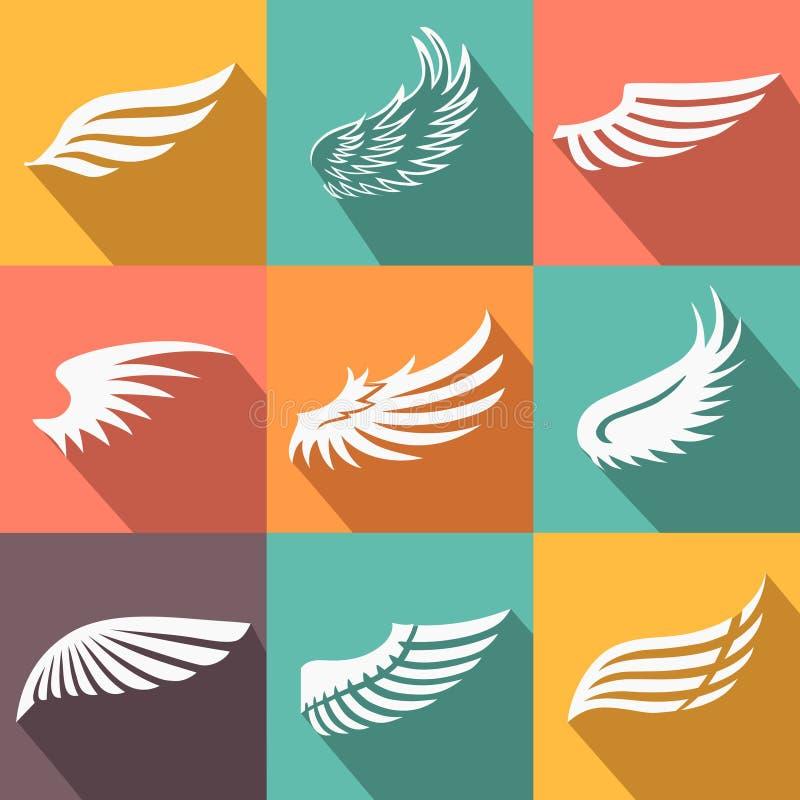 Icônes abstraites d'ailes d'ange ou d'oiseau de plume réglées illustration de vecteur