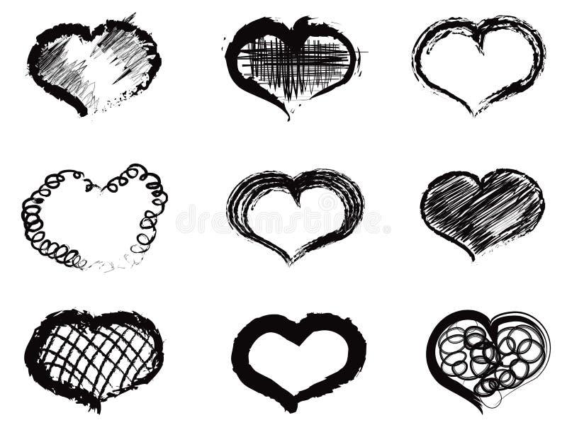 Icônes abstraites de coeur illustration libre de droits