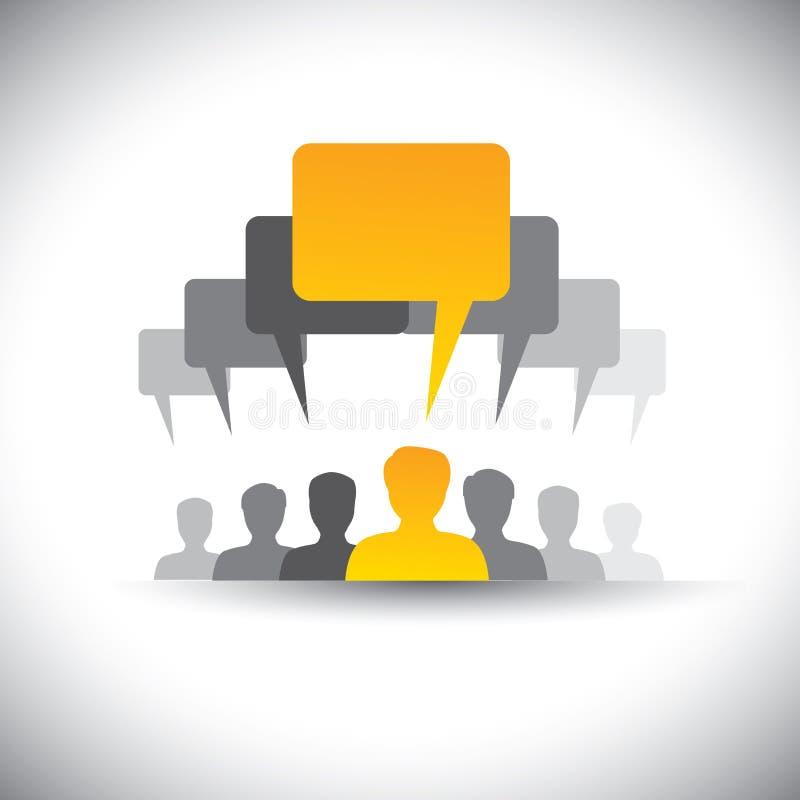 Icônes abstraites de la réunion de personnel ou d'employés de société - vecteur illustration stock