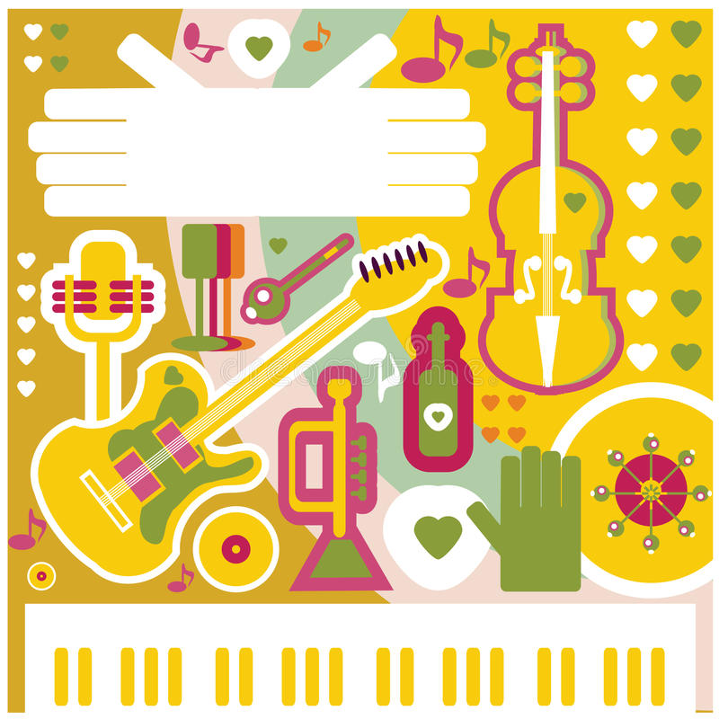 Icônes abstraites de musique de collage d'illustration de fond de musique illustration stock