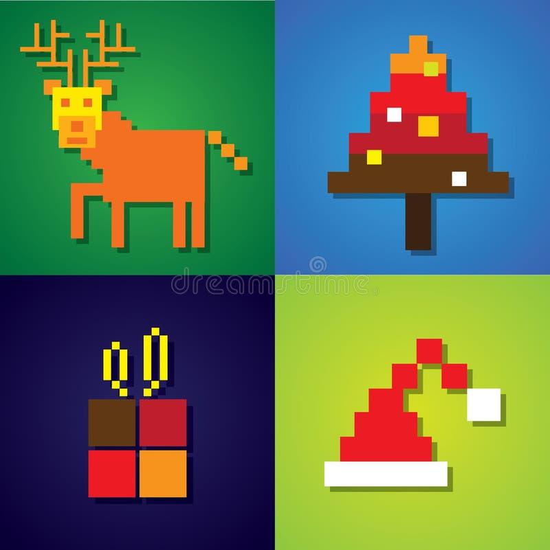Icônes abstraites de pixel de renne, arbre de Noël, chapeau du père noël illustration stock