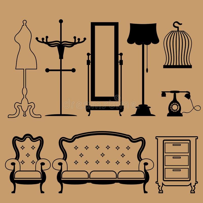 Icônes accessoires de vintage réglées illustration de vecteur