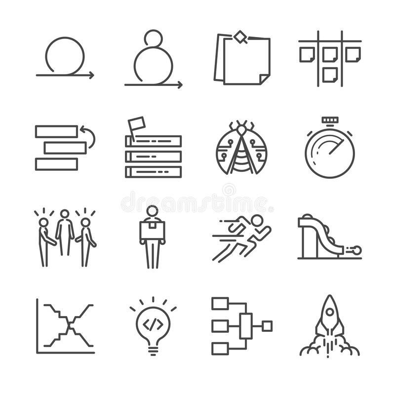 Icônes agiles de développement de logiciel réglées illustration libre de droits