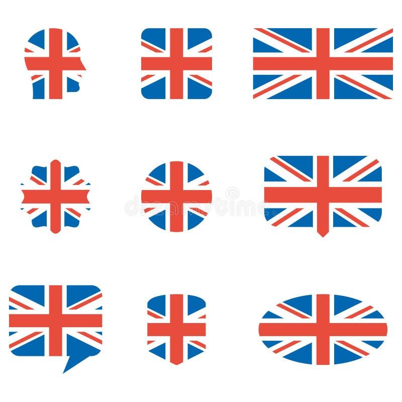 Icônes anglaises de drapeau illustration libre de droits