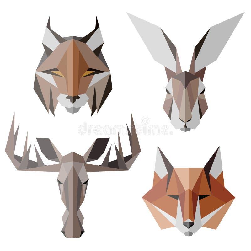 Icônes animales, ensemble d'icône de vecteur Style triangulaire abstrait illustration libre de droits
