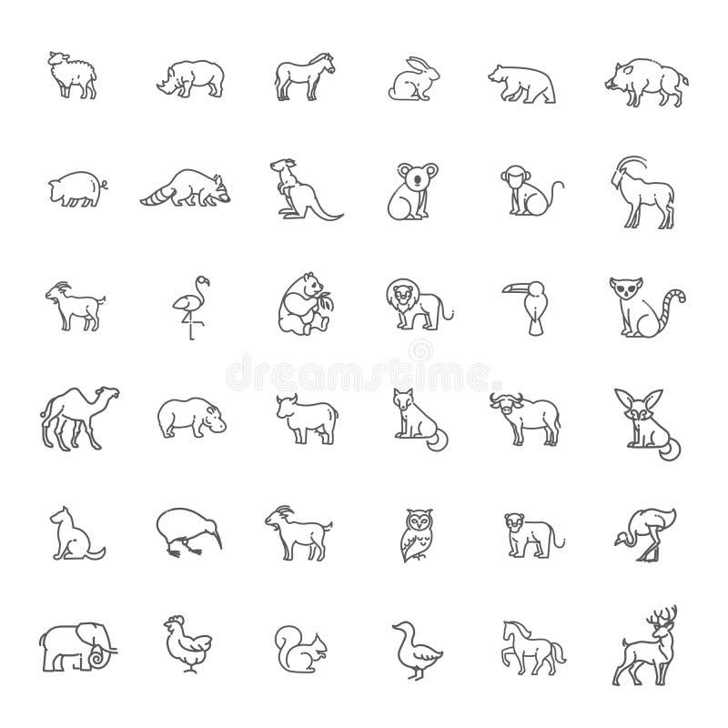 Icônes animales Icônes de zoo animaux illustration stock