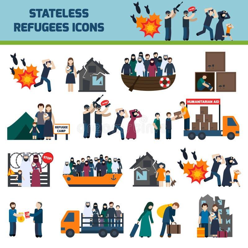 Icônes apatrides de réfugiés illustration de vecteur