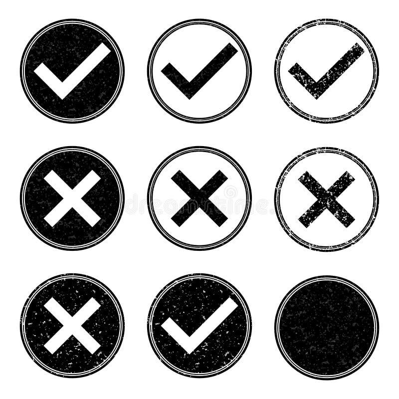 Icônes approuvées et niées de timbre illustration de vecteur