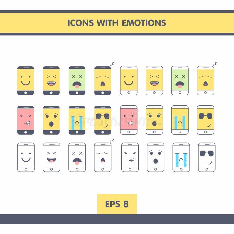 Icônes avec des émotions illustration stock