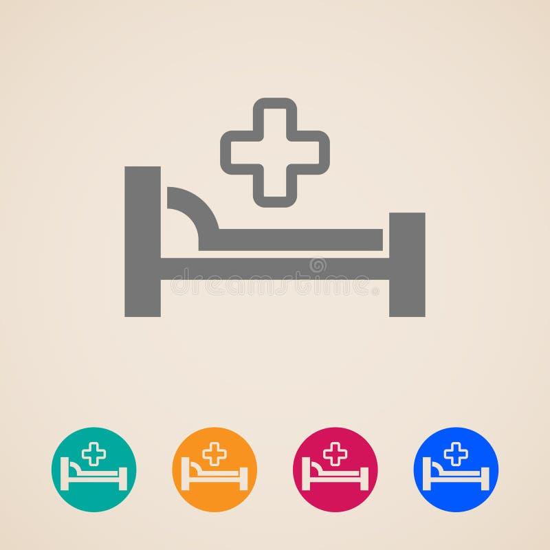 Icônes avec le lit et la croix illustration de vecteur