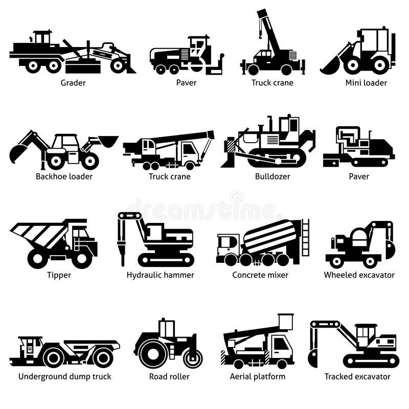 Icônes blanches de noir de machines de construction réglées illustration de vecteur