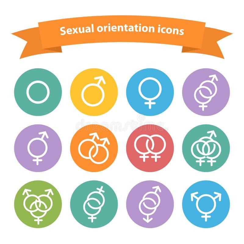 Icônes blanches de Web d'orientation sexuelle de vecteur, symbole, illustration de vecteur