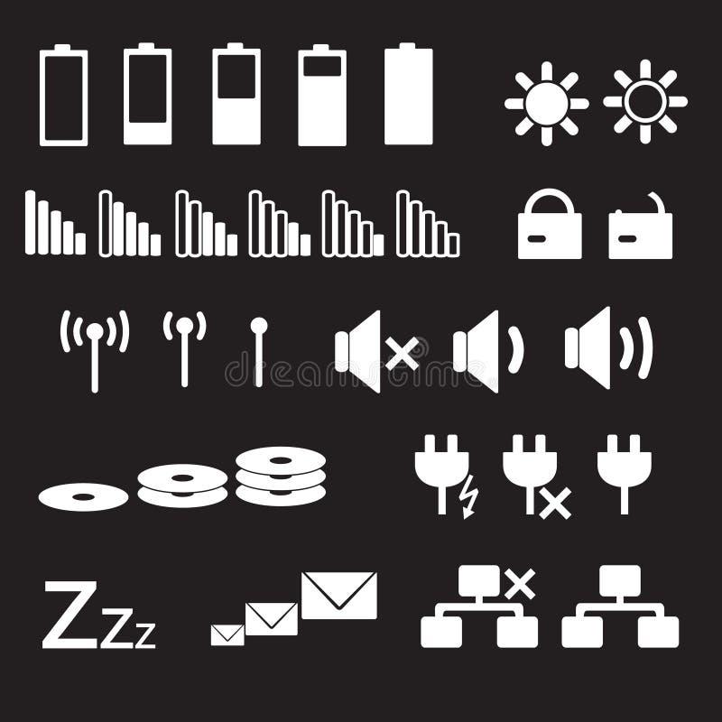 Icônes blanches eps10 de statut d'indication d'ordinateur portable et de PC illustration stock