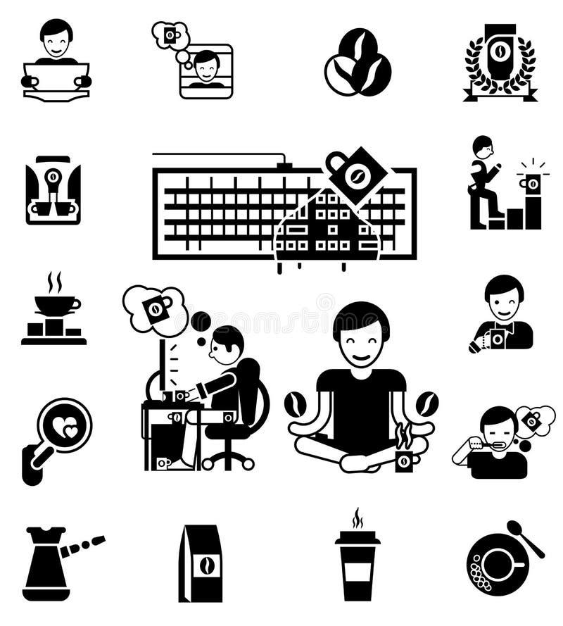 Icônes blanches noires de café réglées illustration libre de droits