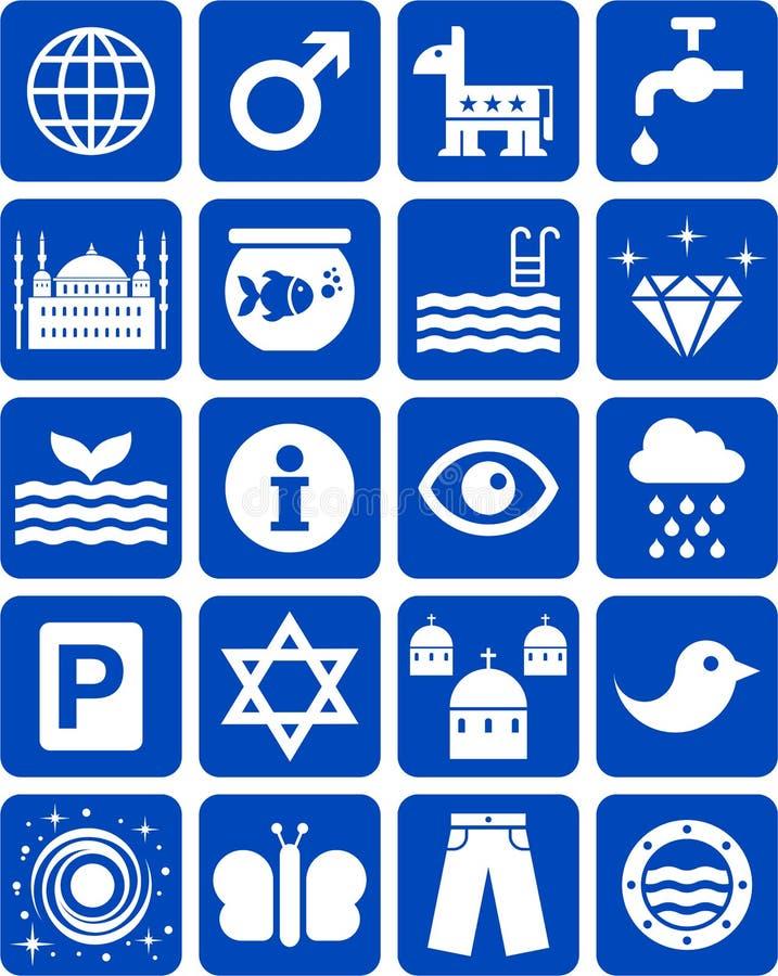 Icônes Bleues Photographie stock libre de droits