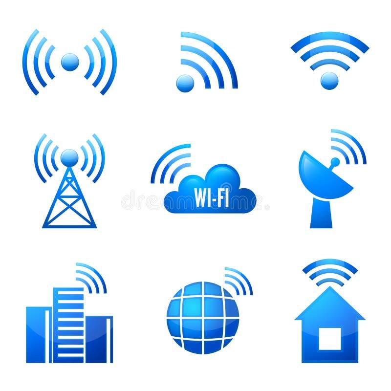 Icônes brillantes de Wi-Fi réglées illustration de vecteur