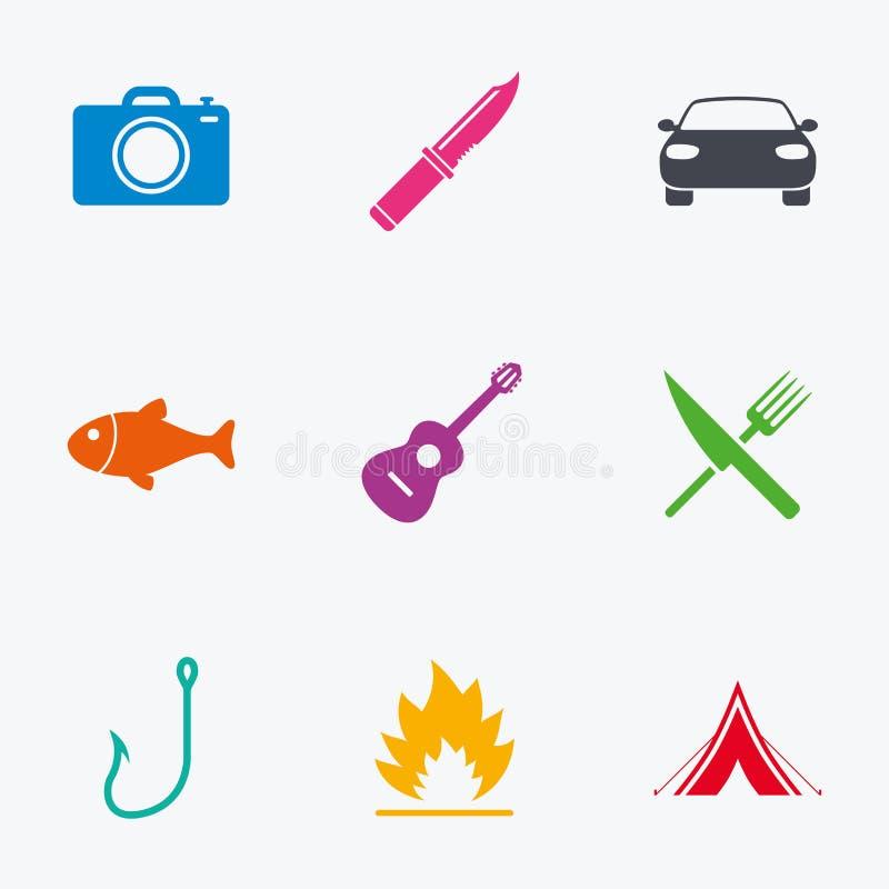 Icônes campantes de voyage Pêche, tente de touristes illustration libre de droits