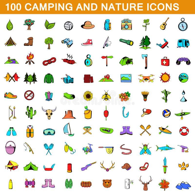 100 icônes campantes réglées, style de bande dessinée illustration libre de droits