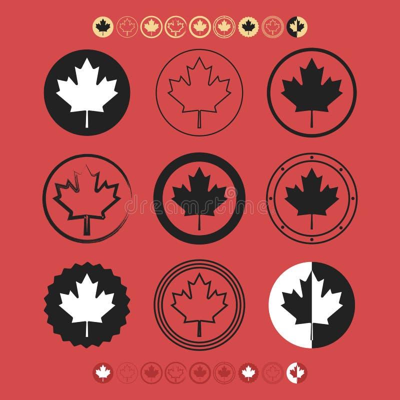 Icônes canadiennes de symbole de drapeau de silhouette de feuille d'érable réglées illustration de vecteur