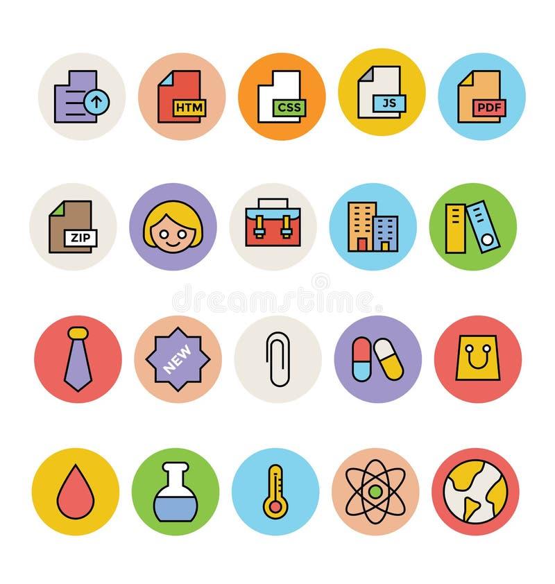 Icônes colorées de base 9 de vecteur illustration libre de droits