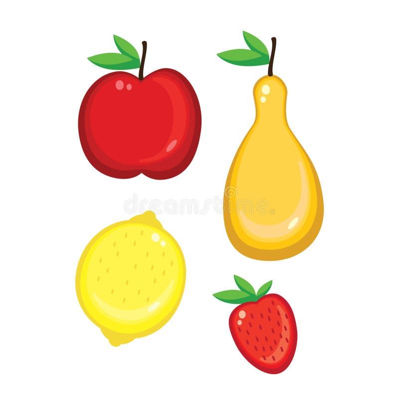 Icônes colorées de fruits, de nourriture et de conception illustration de vecteur