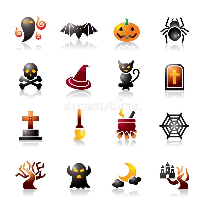Icônes colorées de Halloween illustration stock