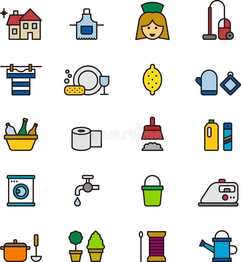 Icônes colorées de ménage illustration libre de droits