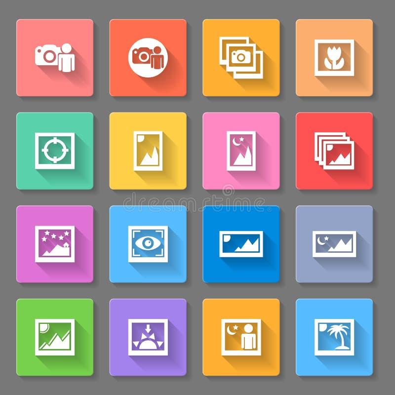 Icônes colorées de photo de media illustration de vecteur