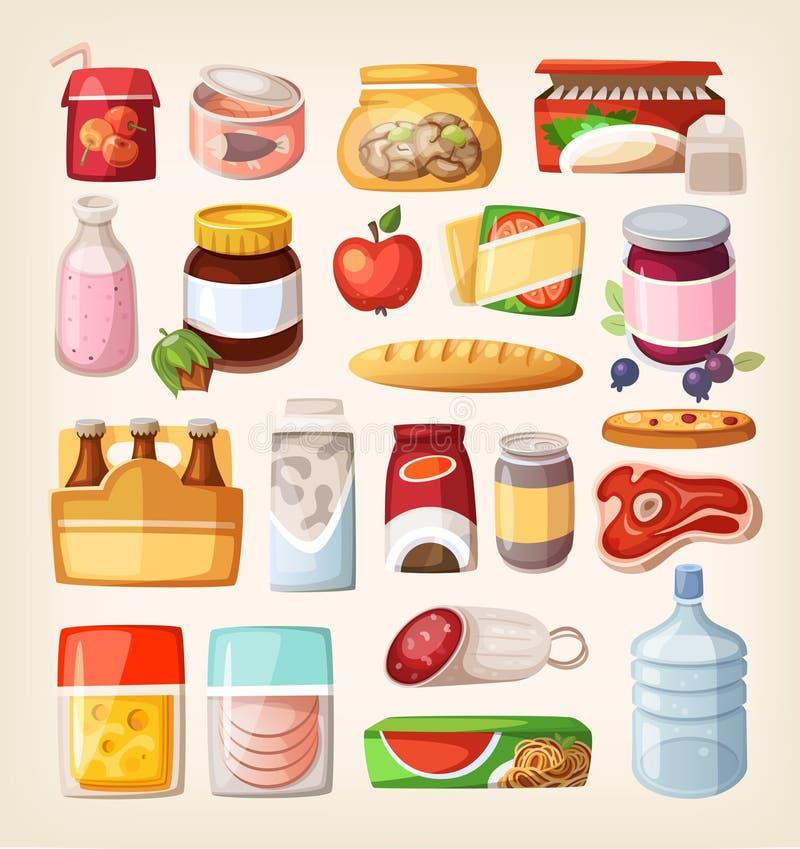 Icônes colorées de produit illustration libre de droits